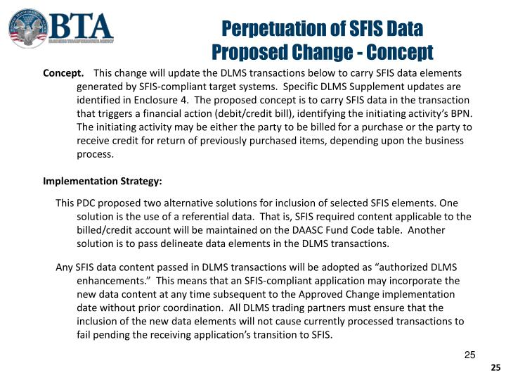 Perpetuation of SFIS Data