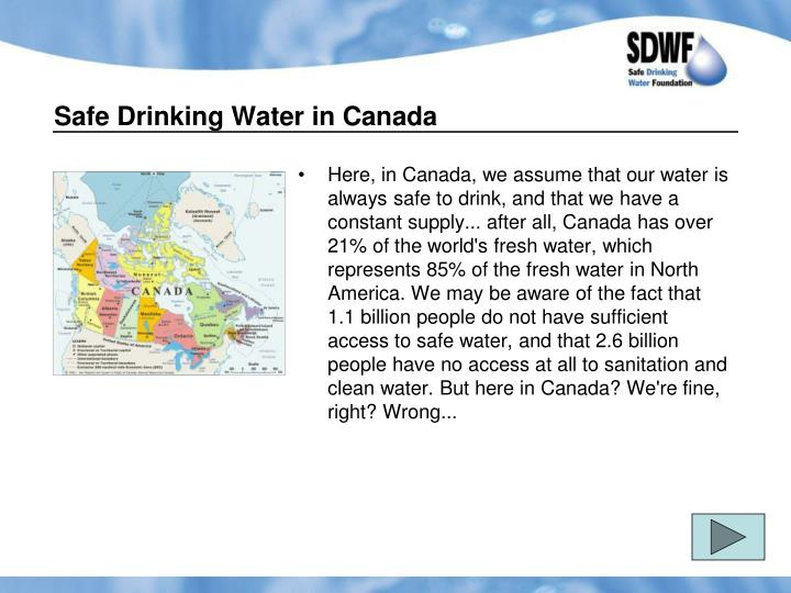 Safe Drinking Water in Canada