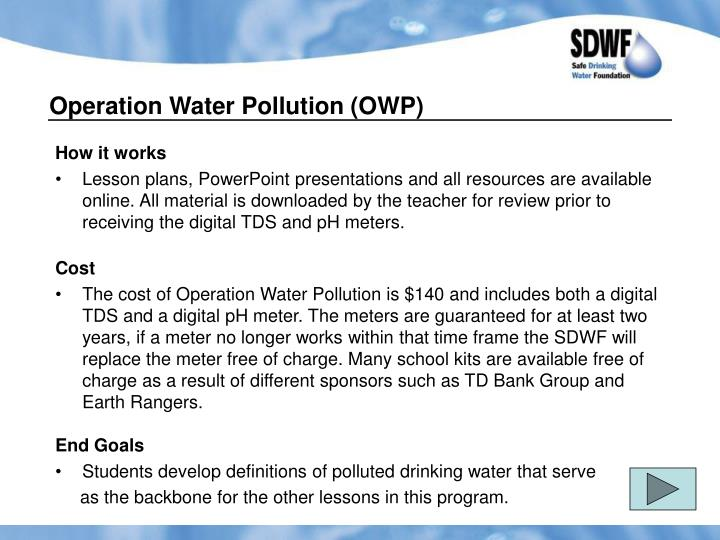 Operation Water Pollution (OWP)