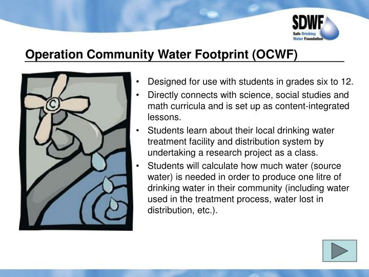 Operation Community Water Footprint (OCWF)