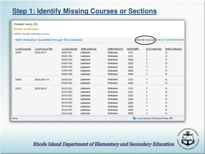 Step 1: Identify Missing Courses or Sections