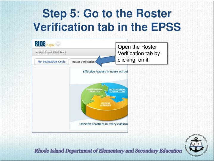 Step 5: Go to the Roster Verification tab in the EPSS