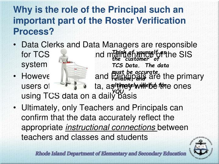 Why is the role of the Principal such an important part of the Roster Verification Process?