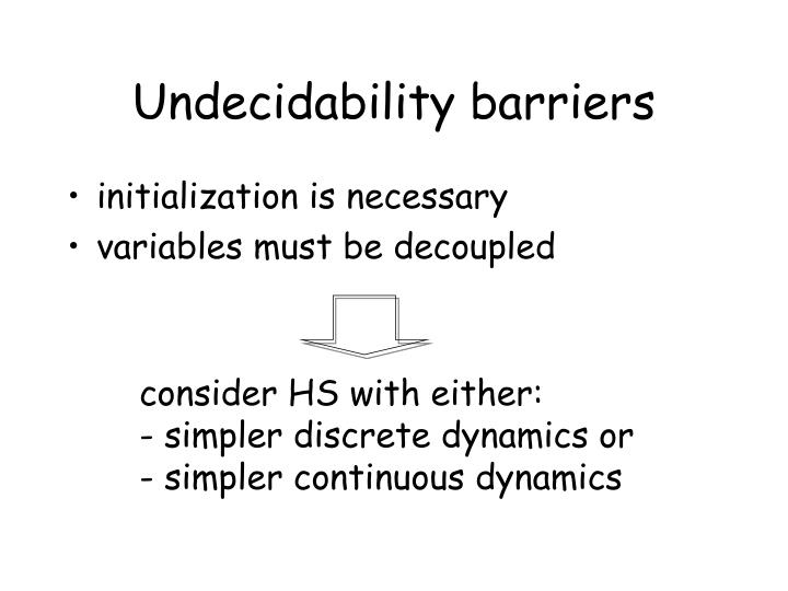 Undecidability barriers