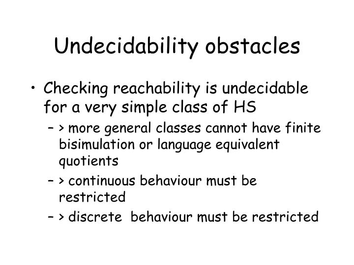 Undecidability obstacles
