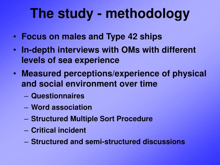 The study - methodology