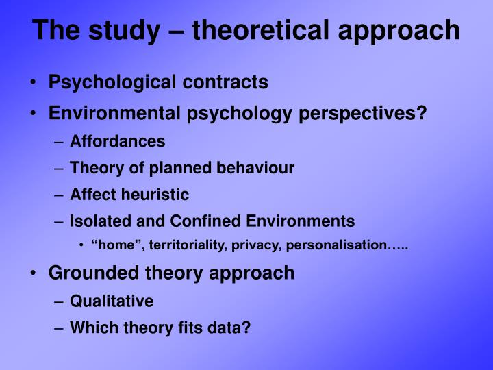 The study – theoretical approach