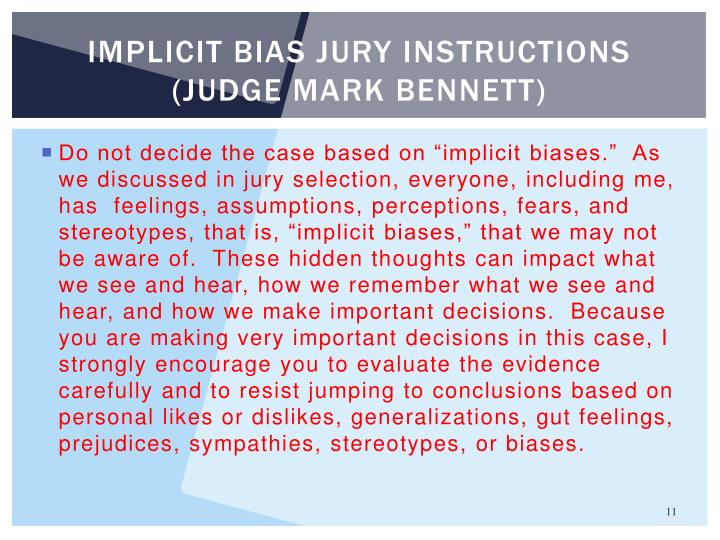 Implicit bias jury instructions