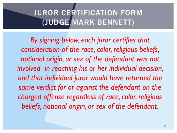 Juror certification form