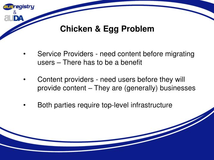 Chicken & Egg Problem