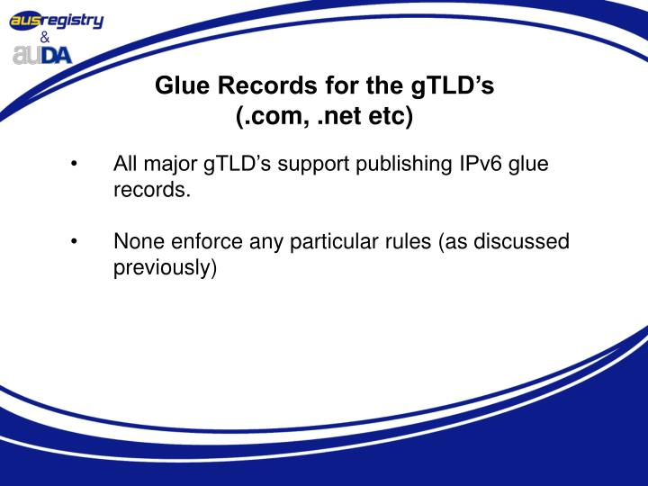 Glue Records for the gTLD's