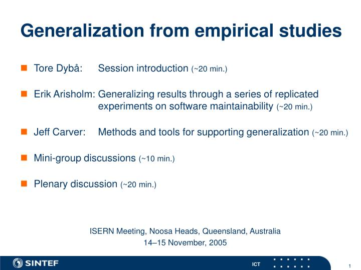 Generalization from empirical studies