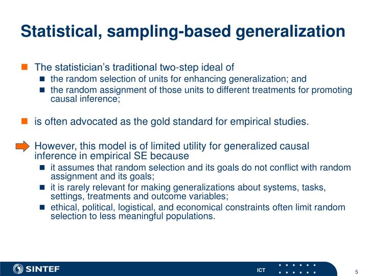 Statistical, sampling-based generalization