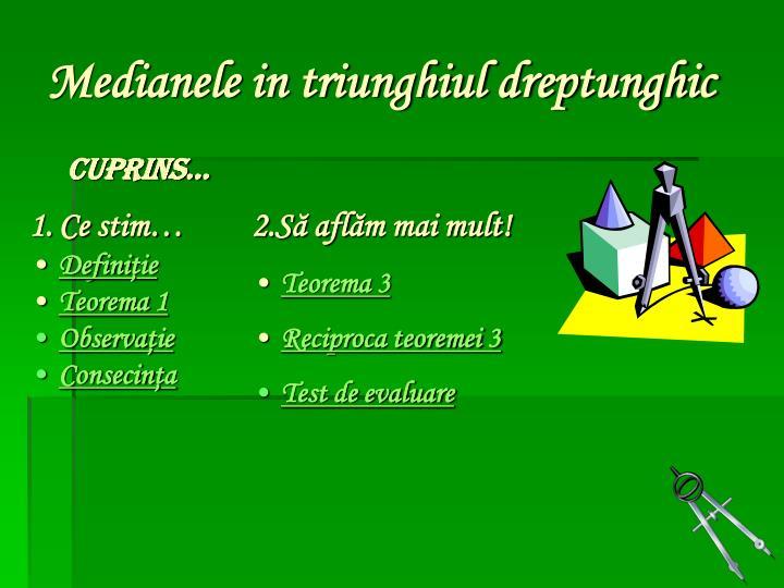 Medianele in triunghiul dreptunghic