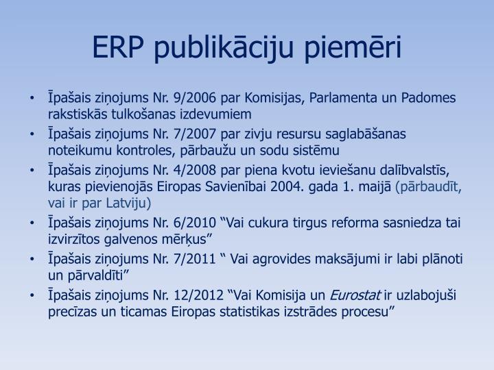 ERP publikāciju piemēri