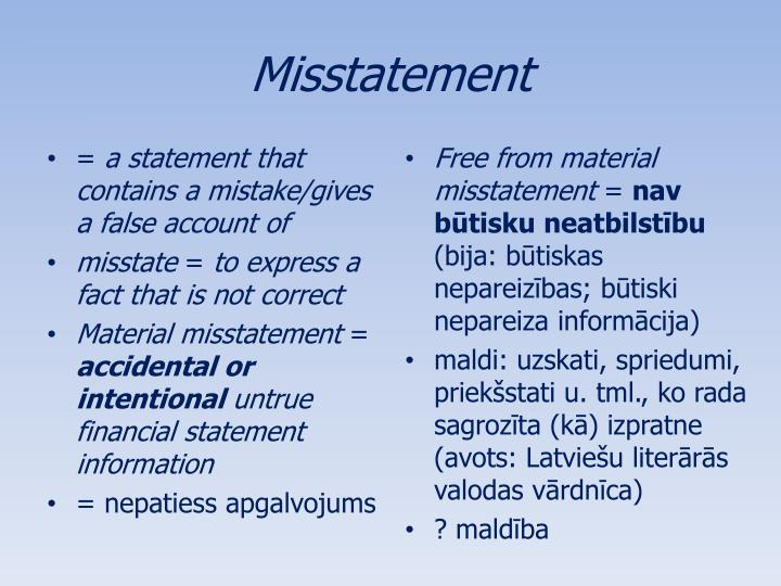 Misstatement
