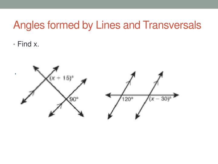 Angles formed by Lines and Transversals