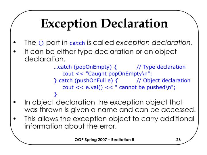 Exception Declaration