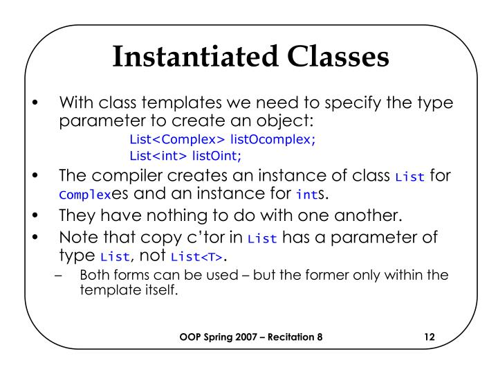 Instantiated Classes
