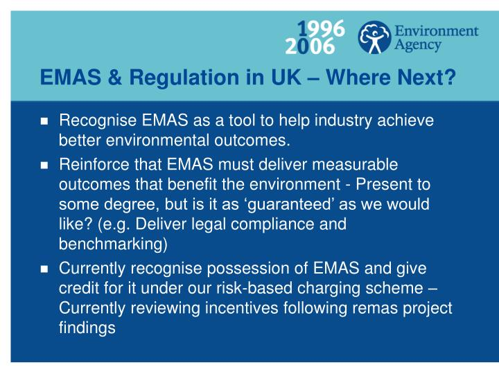 EMAS & Regulation in UK – Where Next?