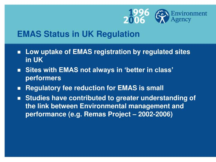 EMAS Status in UK Regulation