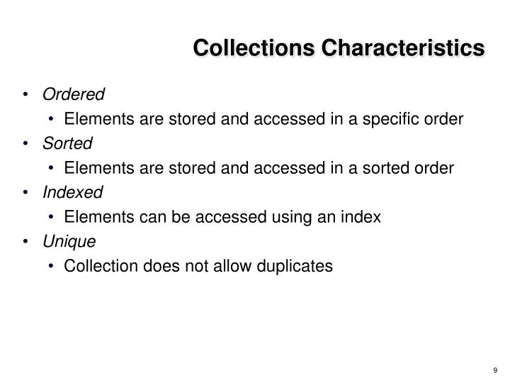 Collections Characteristics