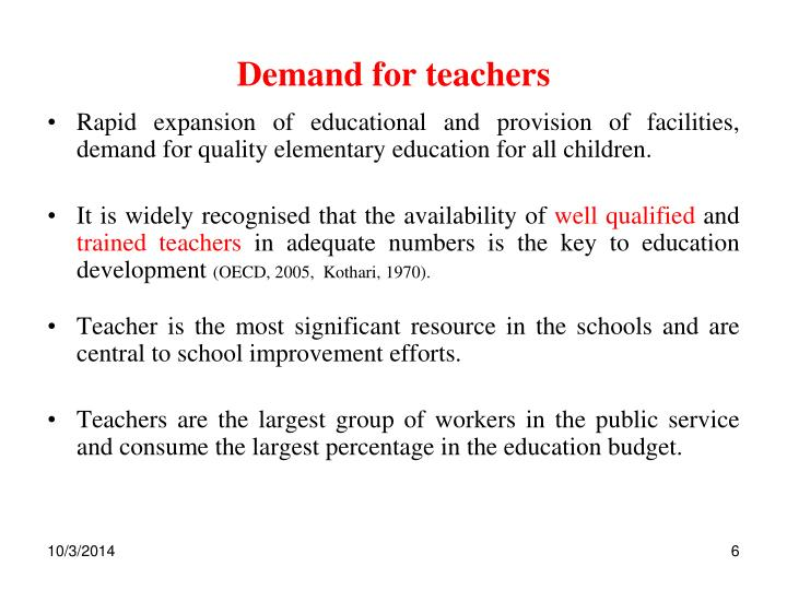 Demand for teachers
