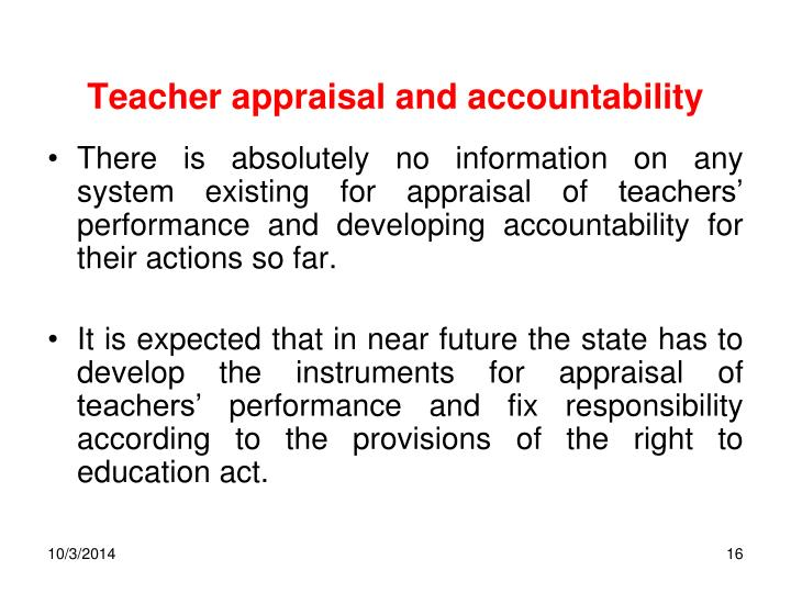 Teacher appraisal and accountability