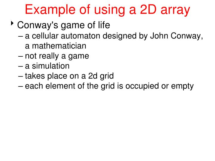 Example of using a 2D array