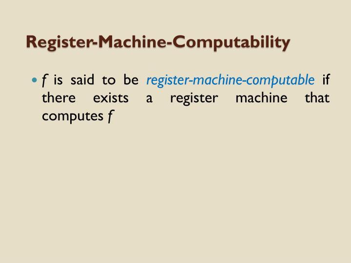 Register-Machine-Computability