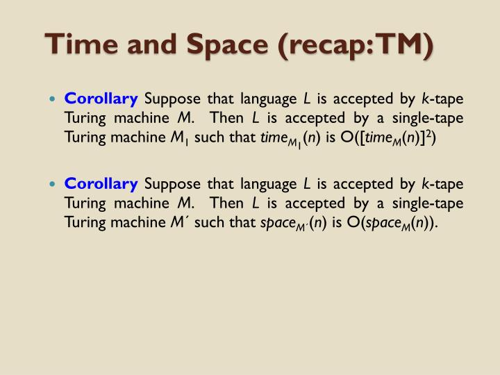 Time and Space (recap: TM)