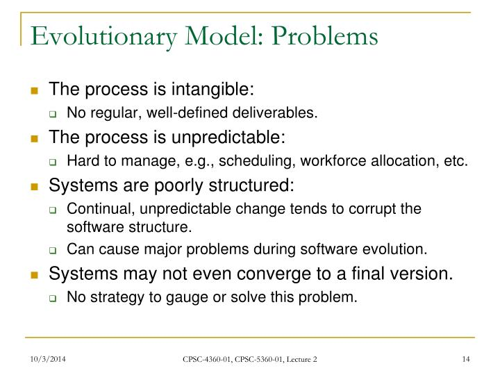 Evolutionary Model: Problems