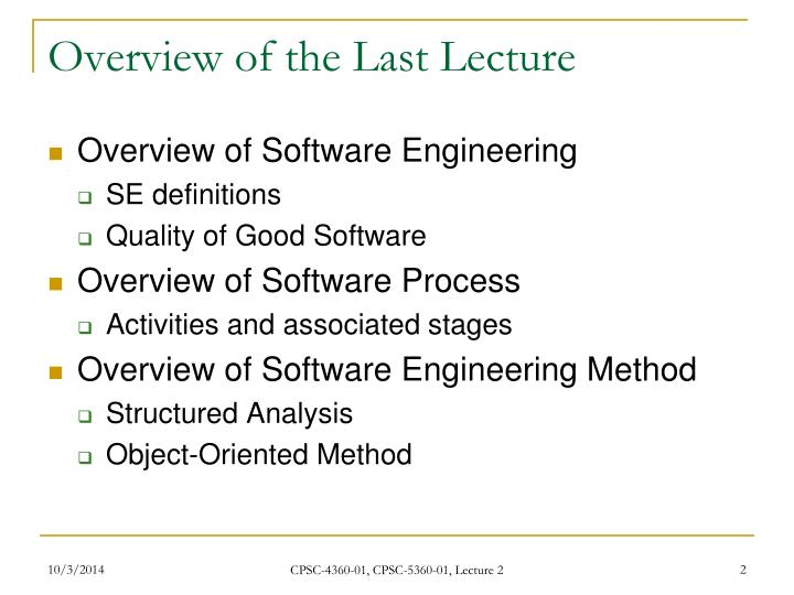 Overview of the Last Lecture