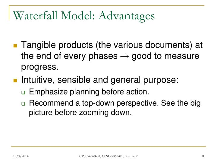 Waterfall Model: Advantages