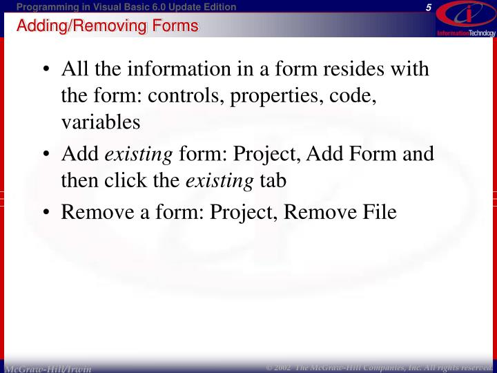 Adding/Removing Forms