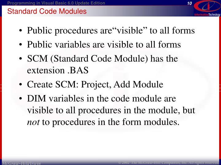 Standard Code Modules