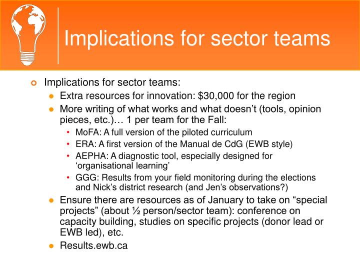 Implications for sector teams