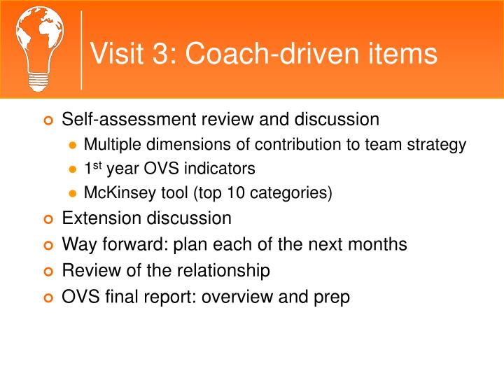 Visit 3: Coach-driven items
