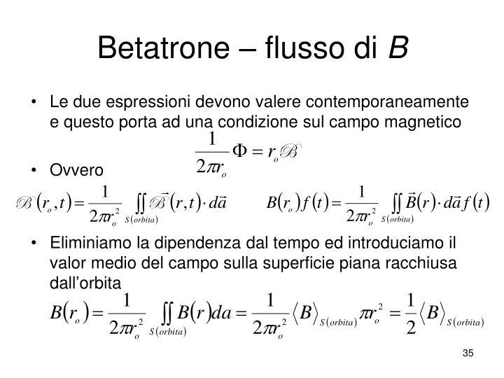 Betatrone – flusso di