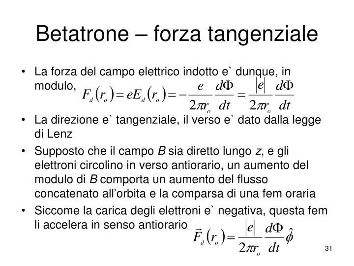 Betatrone – forza tangenziale