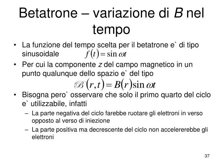 Betatrone – variazione di