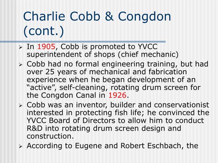 Charlie Cobb & Congdon (cont.)