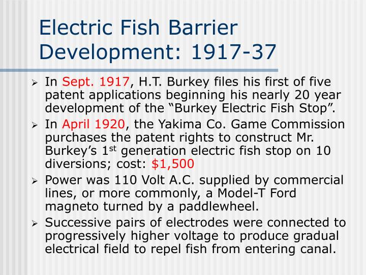 Electric Fish Barrier Development: 1917-37