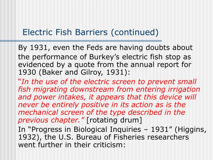 Electric Fish Barriers (continued)