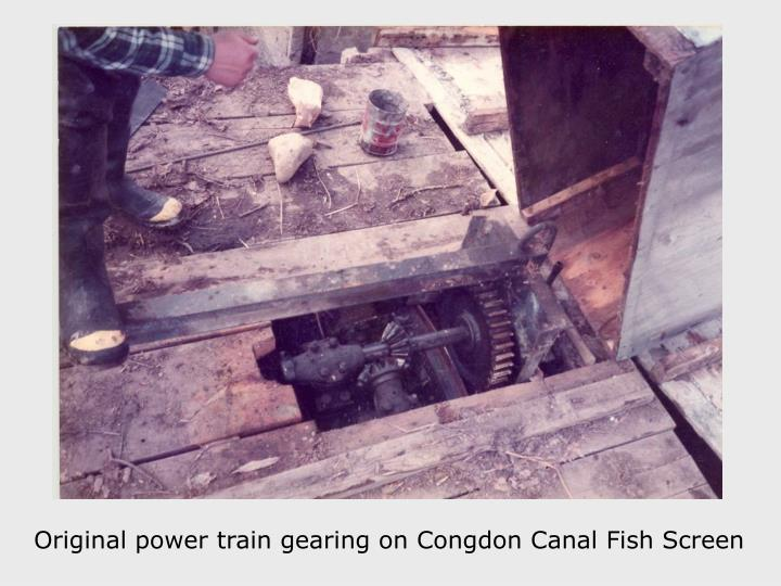 Original power train gearing on Congdon Canal Fish Screen