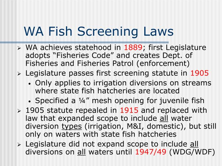 WA Fish Screening Laws
