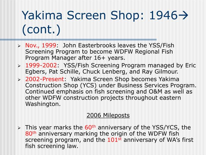 Yakima Screen Shop: 1946
