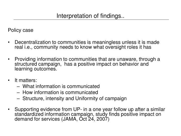 Interpretation of findings..