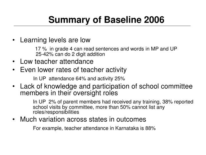 Summary of Baseline 2006