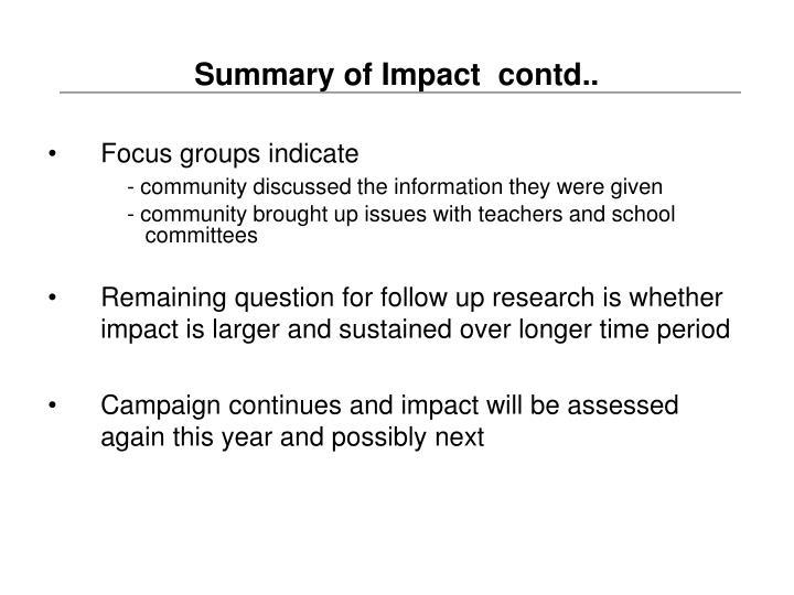 Summary of Impact  contd..